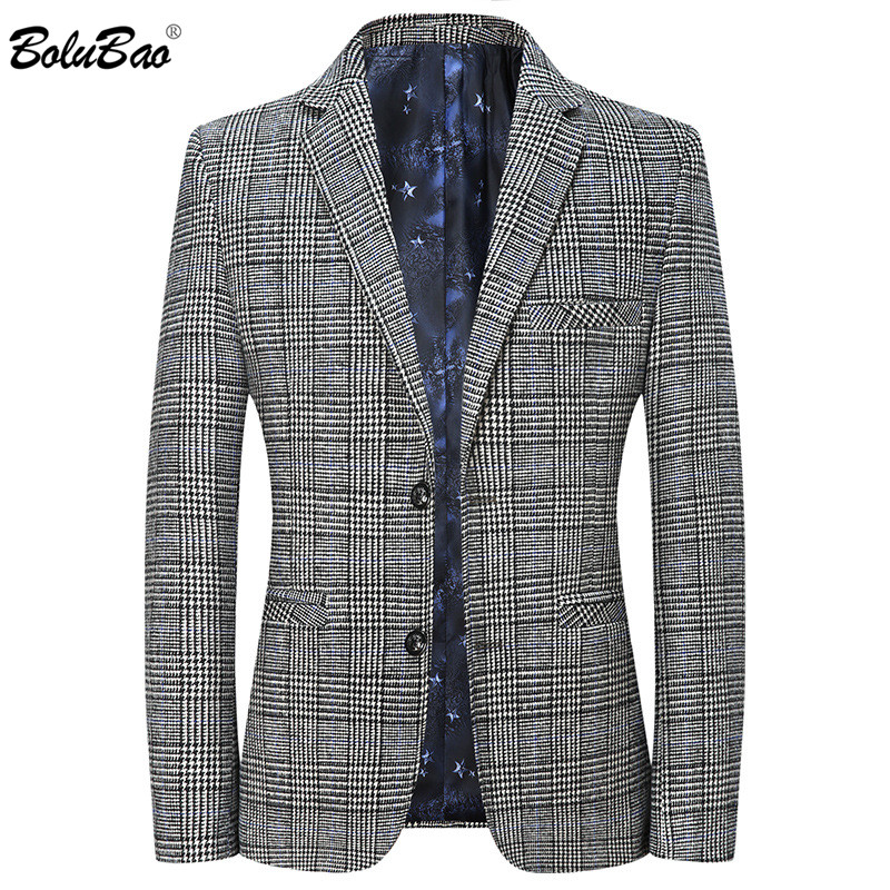 BOLUBAO Quality Brand Men Blazers Men's Single-Breasted Suit Coats Male Business Casual Plaid Blazers Coat Brand Clothing