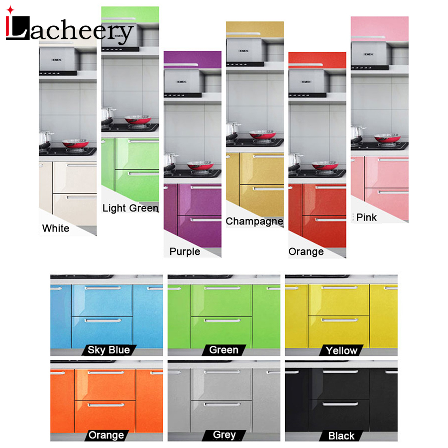Multi-color Glossy Self Adhesive Wallpaper Kitchen Cabinet Wardrobe Door Vinyl Contact Paper Waterproof Furniture Decor Stickers