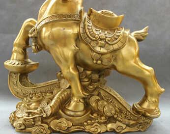 """จัดส่งฟรี <<<< 16 """"พื้นบ้านจีนทองเหลืองสัตว์ Ruyi ความมั่งคั่งเหรียญ YuanBao Zodiac แกะแพะรูปปั้น"""