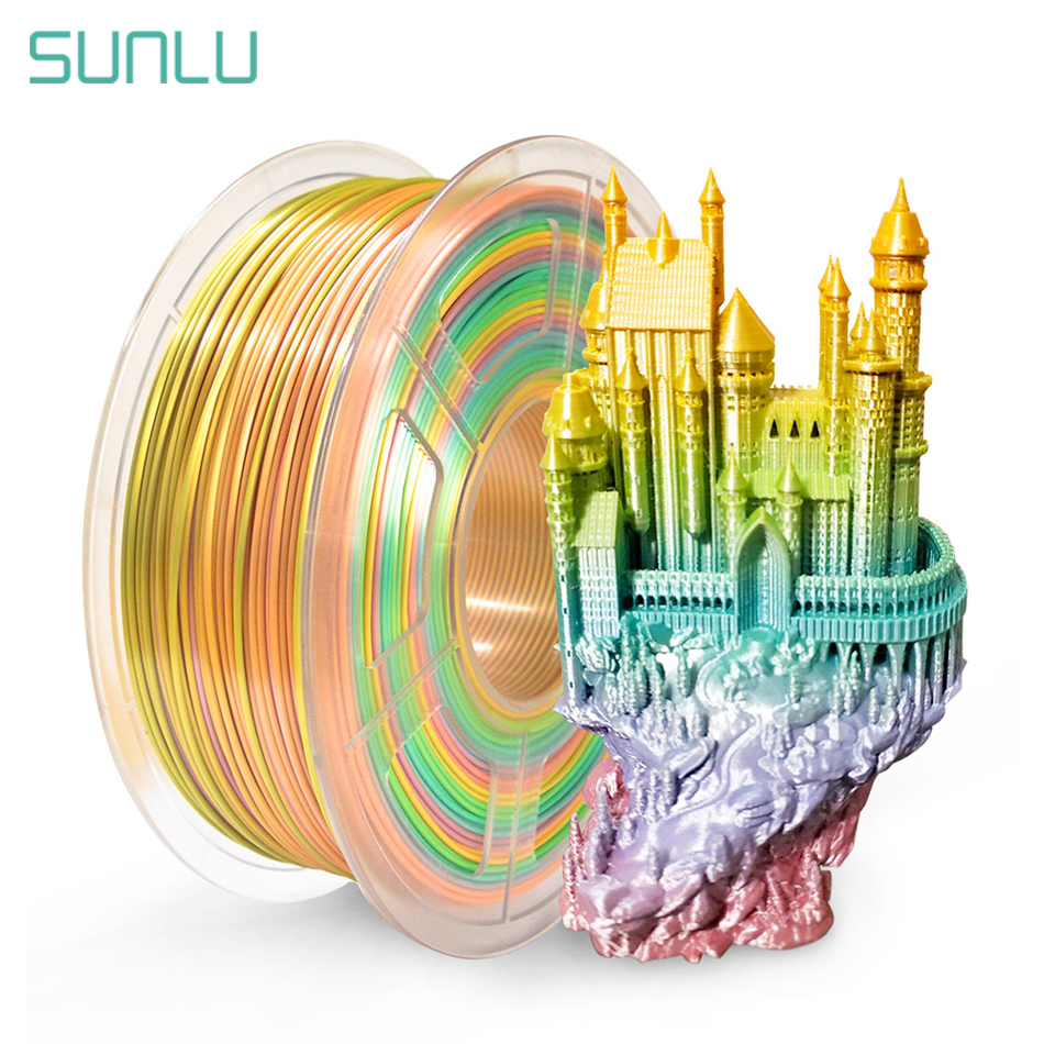 SUNLU Silk Rainbow Filament 1.75mm 1kg For 3D Printer Bright Color Silk PLA 3d Filament Silk Texture 3D Printing Materials