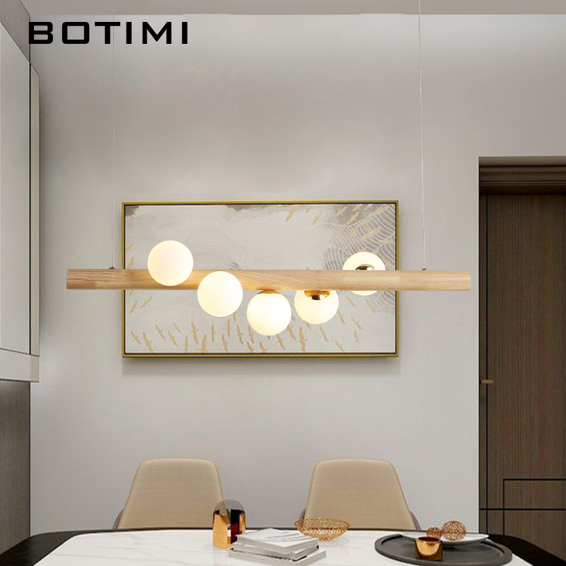 BOTIMI Dining LED Pendant Light For Living Room Glass Balls Wooden Pendant Lamp Bar Long Table Hanging Loft Lighting Fixtures
