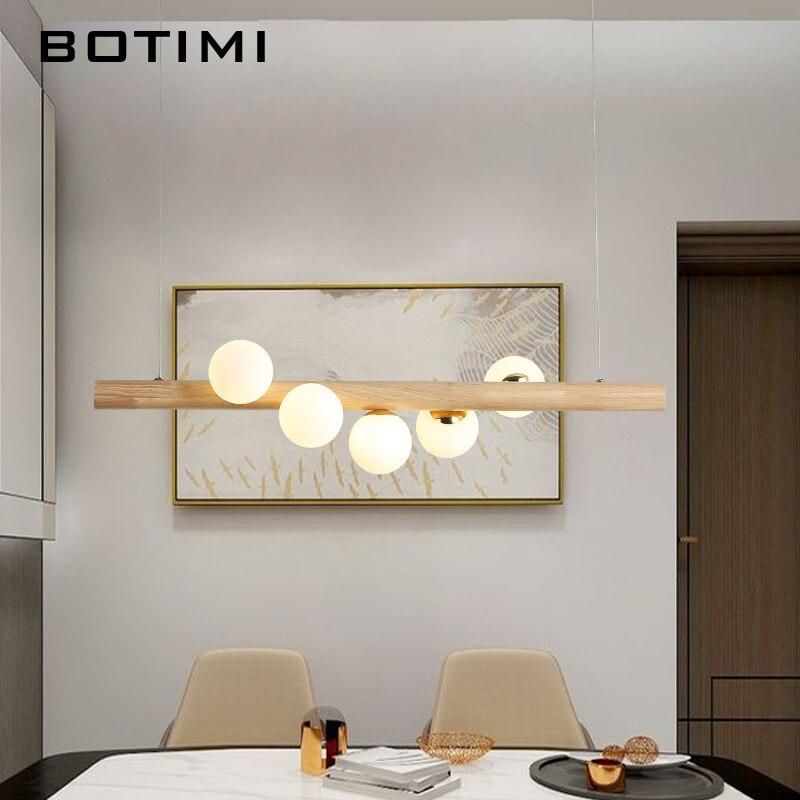 BOTIMI comedor lámpara colgante LED para sala de estar bolas de cristal lámpara colgante de madera Bar mesa larga colgante desván accesorios de iluminación