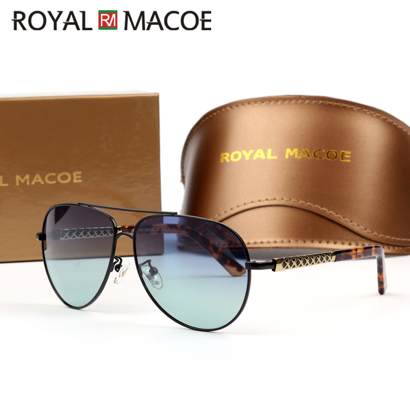 ROYAL MACOE Men Vintage UV400 Polarized Sunglasses Classic Brand Sun Glasses Leopard Fishing Driving Shades For Men