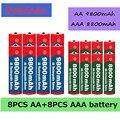 Аккумуляторная батарея AA + AAA 1,5 в AA 9800 мА/ч + 1,5 в AAA 8800 мА/ч щелочная батарея в для часов, игрушек, аккумуляторная батарея для камеры