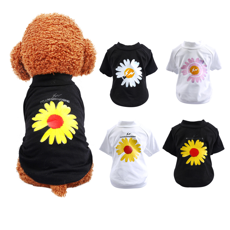 2020 Fashion Daisies Pattern <font><b>Dog</b></font> <font><b>Tshirt</b></font> <font><b>Summer</b></font> Cool Pet Clothes For Small <font><b>Dogs</b></font> Puppy Cotton Vest For Chihuahua York Apparel 10E image