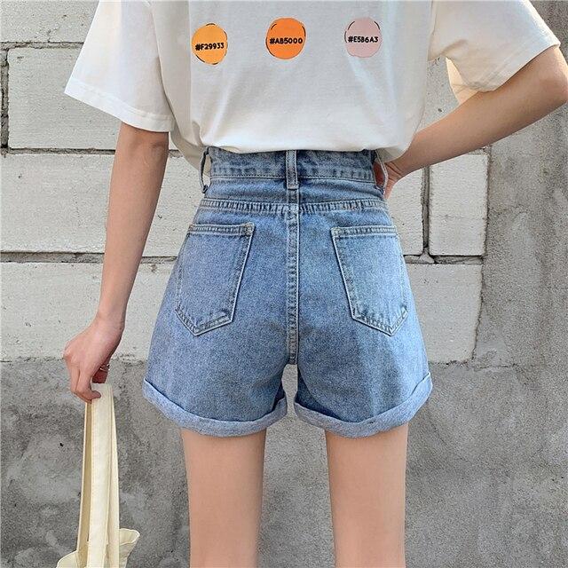 TIGENA High Waist Denim Shorts Women 2021 Summer Casual All-Match Jeans Shorts Female with Pocket Black White 4
