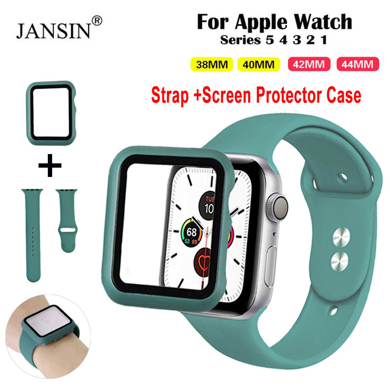 Protector Case+Silicone Strap For Apple Watch Band 42mm 38mm Replace Bracelet Strap For Apple Watch 5 4 Band 44mm 40mm Watchband