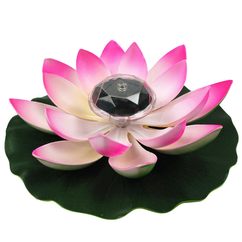 Solar Lotus Light LED Garden Pool Lamp Water Resistant Outdoor Floating Pond Night Light Auto On/Off For Garden Pool Party Gift