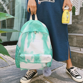 Women Backpack Fashion Tie-dye Shoulder Bags for Girls Students High Quality Female Backpacks Shoulder Bags Casual Travel Bag miyahouse female harajuku ulzzang soft velvet backpacks teenagers girls koreanstyle velour shoulder schoolbags women travel bags