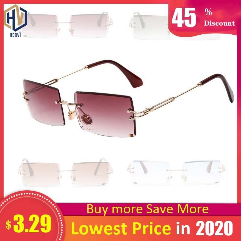 Sunglasses Women Retro Small Rectangle Rimless Square Sun Glasses 2019 Summer Style Female Green Blue