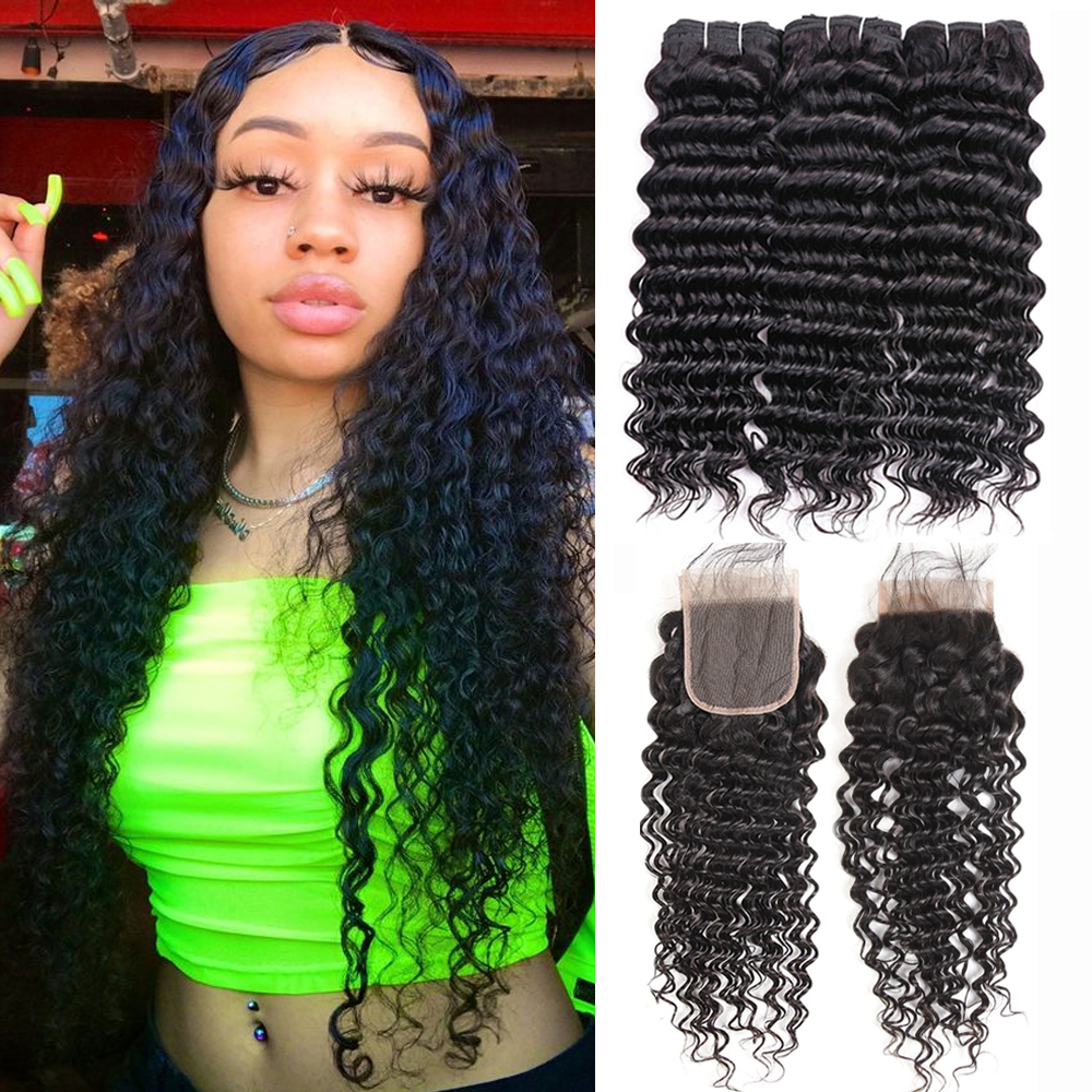 Sapphire Brazilian Deep Curly Hair Weave Bundles With Closure 3 Bundles With Closure Human Hair Deep Wave Bundles With Closure