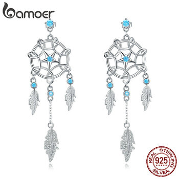 bamoer Bohemia Dream Catcher Hanging Dangle Earrings for Women Summer Feather Drop Earings 925 Sterling Silver Jewelry BSE222 - discount item  30% OFF Fine Jewelry