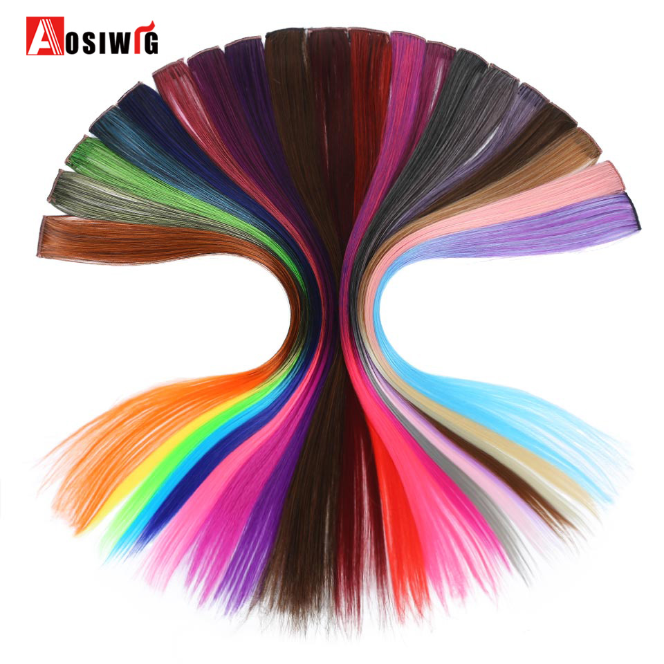 AOSIWIG 50cm Long Straight Omber Colorful Fake Hair Pieces Heat Resistant Synthetic Hair Clip In One Piece Hair Extensions