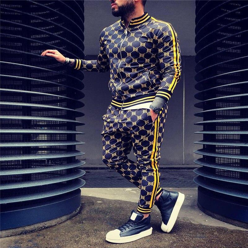 새로운 다채로운 격자 무늬 남성 캐주얼 지퍼 세트 가을 Tracksuit 세트 남성 운동복 포켓 패션 재킷 남자 Tracksuit 세트 망 세트