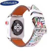 Lerxiuer Genuine Leather For Apple Watch band 40mm 44mm apple watch 4 for apple watch 5 flower wrist band bracelet watchband присадка ремонтно восстановительная к моторному маслу fenom renom 200 мл