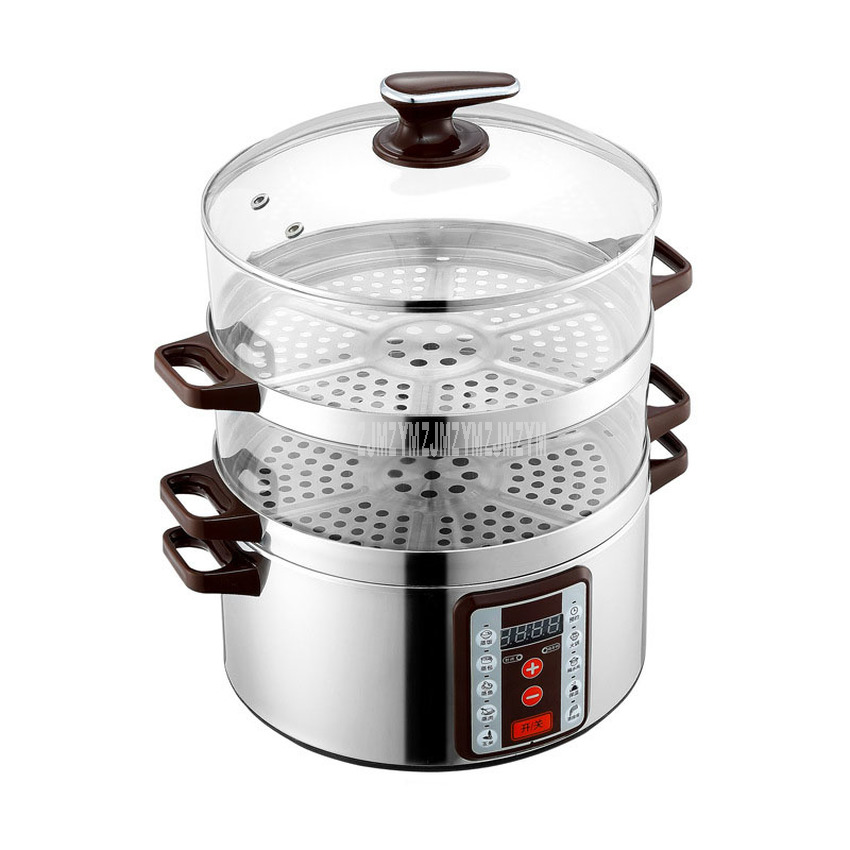 32cm Diameter Smart Electric Steamer 6 Gear Adjustable 3 Layer Multi Cooker Transparent Type Household Electric Steaming Pot