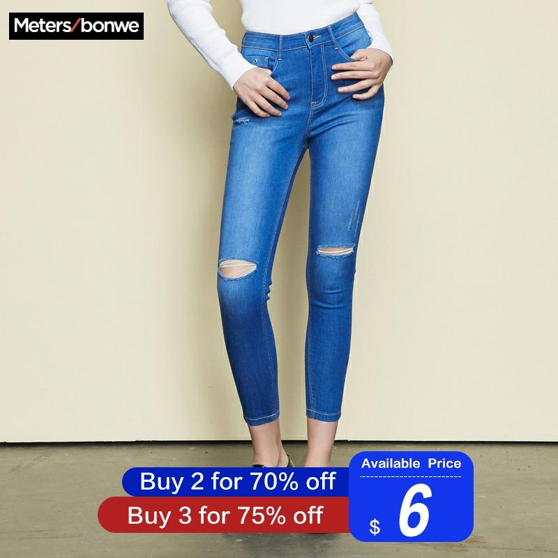Metersbonwe Slim Jeans For Women Jeans Hole Design Blue Denim Pencil Ankle-length Pants High Quality Stretch Waist Women Jeans