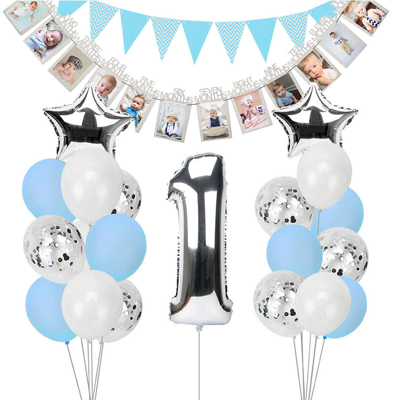Blue and Silver Happy Birthday 10m Banner