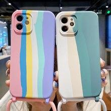 קשת שרוך רצועת טלפון מקרה עבור iPhone 12 פרו מקסימום 11 12 מיני XR XS מקסימום X 7 8 בתוספת SE 2020 11 פרו נוזל סיליקון חזרה כיסוי