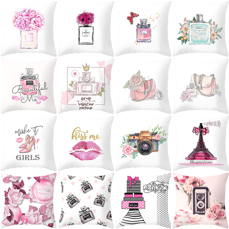 New Perfume Bottles Series Floral Print White Cushion Covers Hot Polyester Modern Fashion Pillows Cover Sofa Couch Throw Pillows Cushion Cover Aliexpress