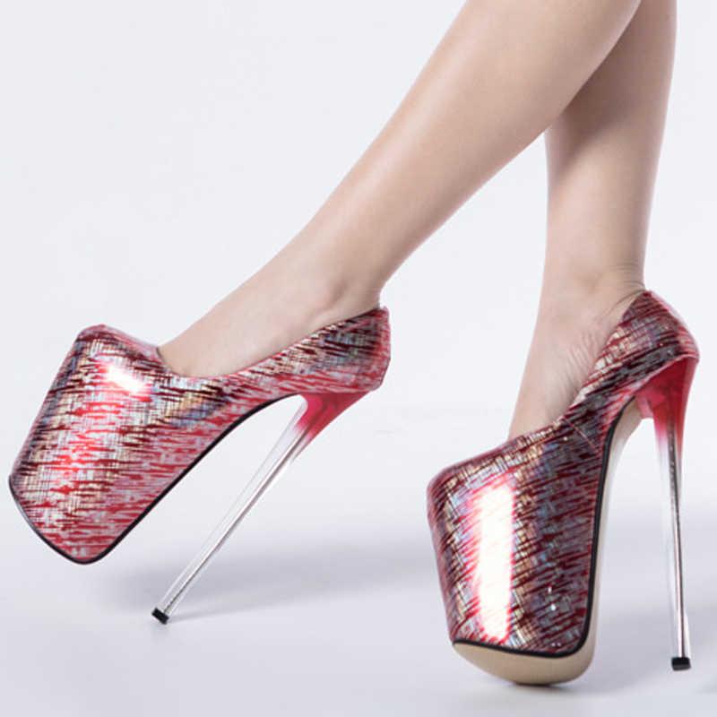 Bayanlar platformu pompaları renkli seksi ayakkabılar kadın Ultra yüksek topuklu 22cm parti düğün ayakkabı kadın pompaları artı boyutu 34- 43 WSH3518