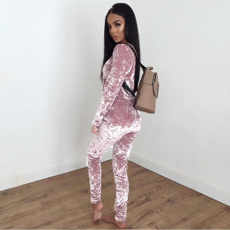 Autumn Women Warm Velvet 2 Two Piece Set Tracksuit Velor Smooth Soft Home Suit Women Fitness Set