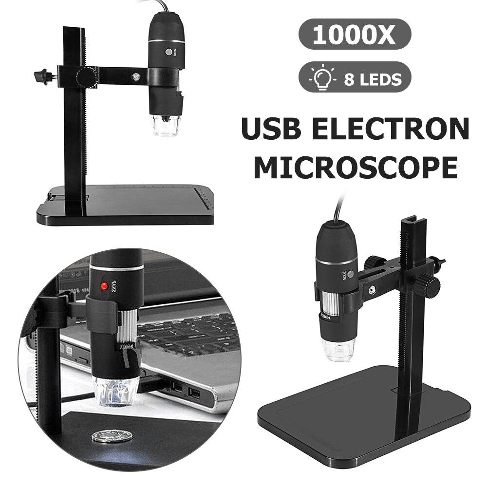 1 шт. Профессиональный USB цифровой микроскоп 1000X 8 светодиодный 2 МП электронный микроскоп Эндоскоп зум Камера лупа + подъемная подставка