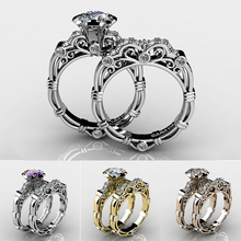 Luxury Female Wedding Ring Set Fashion Crystal  Gold  Stackable Ring Promise Engagement Rings For Women Gift Z3M001 luxury heart gold wedding ring set cz pave crystal rings for women fashion jewelry couple love ring men engagement gift o3m039