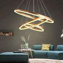 Personality Chandeliers Circular Ring Chandelier lamp Acrylic LED Chandelier Lights round fixtures for living room bedroom lamp