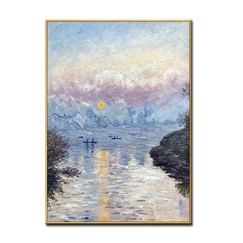 Pintados à Mão Pintura a Óleo Sala de Estar Arte da Parede Decorativa sem Moldura Cópia Monet Sunrise Pinturas Famosas Pintura