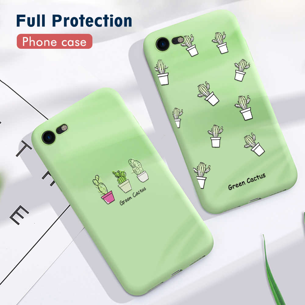Green Cactus Potted Plant Phone Case For iphone 6 6s 7 Plus Soft TPU Back Protector Cover Silicone For iPhone 7 6 5 5s SE Coque