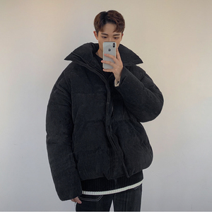 Image 2 - EWQ / Corduroy Loose Cotton padded Clothes for Male Grey And Black Short style Thickening Keep Warm winter males clothing Y0039