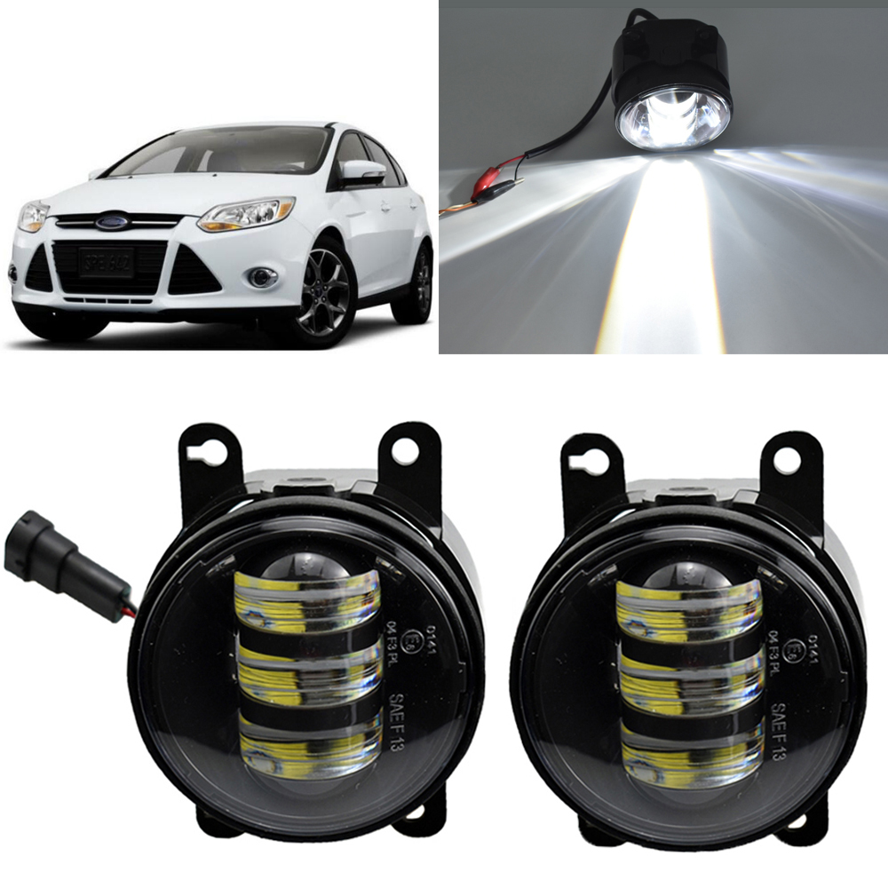 2pcs/pair LED fog <font><b>Lights</b></font> for <font><b>Focus</b></font> 2 3 MK2 MK3 2007-2015 For <font><b>Ford</b></font> Fiesta 2013-2015 For <font><b>Ford</b></font> Mondeo 2007-2017 image