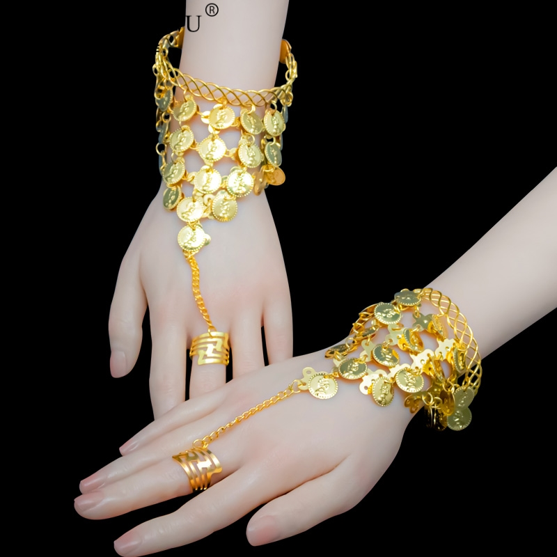 Belly Dance Indian Bollywood Dance Accessories Hanging Coins Bracelet 1 Pair Golden Silver Bracelet Belly Dancing Accessories