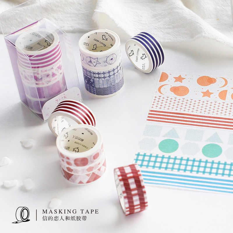 AngelHere 3 unids/set cinta de Washi de red patrón de onda estilo japonés de Navidad cinta de Washi cinta Washi ancha estudiante papelería
