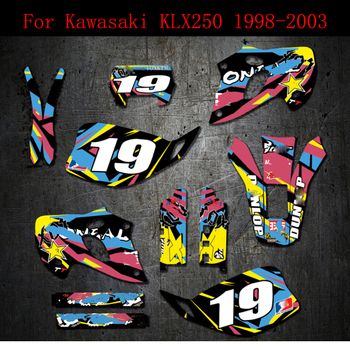 цена на 98-03 For Kawasaki  KLX 250 Stickers Kits Free Customized Number Graphics Background Decals KLX250 1998 1999 2000 2001 2002 2003