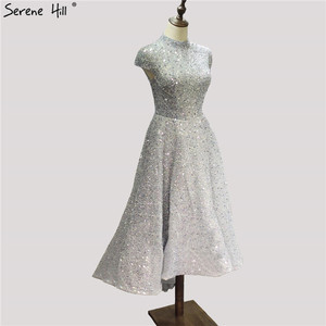 Image 3 - Dubai luxe argent asymétrique robes de soirée 2020 col haut perles paillettes robe formelle sereine colline LA60757