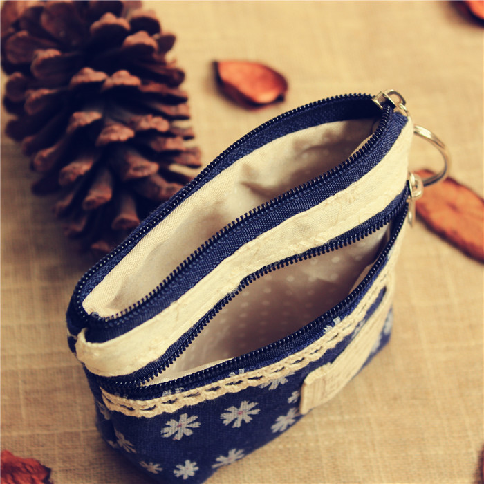 Pastoral Style Floral Fabric Purse Wallet Coin Bag Small Storage Bag Earphone Bag Cute Hipster Girl'S Free Postage