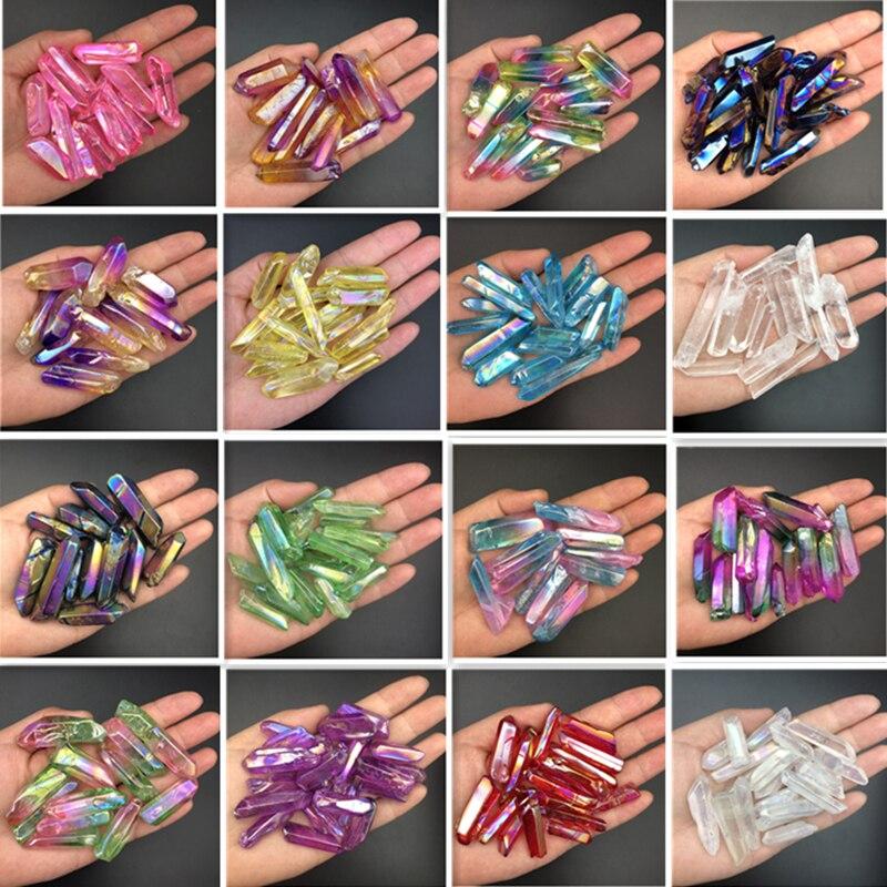 Wholesale 50g Electroplated Red Titanium Rainbow Aura Lemurian Quartz Crystal Point Healing Stones Decor Natural Quartz Crystals