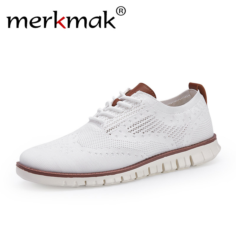 merkmak New Brogue men's Shoes Lace up lightweight British Dress Footwear Fashion hollow breathable knitted mesh Flats Shoes