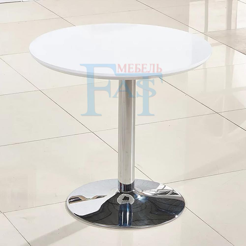 Home Dining Table White Paint Table On Stainless Steel Base Kitchen Table Round Table Modern Table