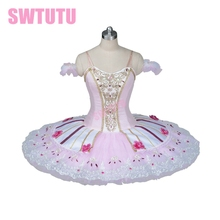 New Arrival! pink professional ballet tutu classical for girls pancake with flowers ballerina tutusBT9086
