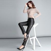Black Solid Frill Belted Waist Winter Leather Pants Women Streetwear Korean High Waist Trousers