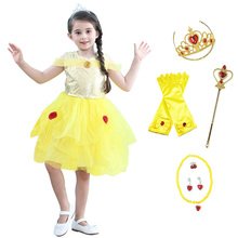 все цены на Girls Belle Princess Dress Kids Summer Floral Birthday costume For Beauty and the Beast Children Halloween Party Cosplay Dress
