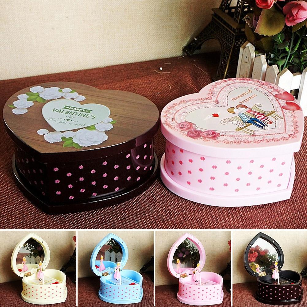 Lovely Mechanical Music Box Clockwork Children Friends Home Decor With Mirror Jewelry Storage Birthday Heart-Shaped Dancing Girl