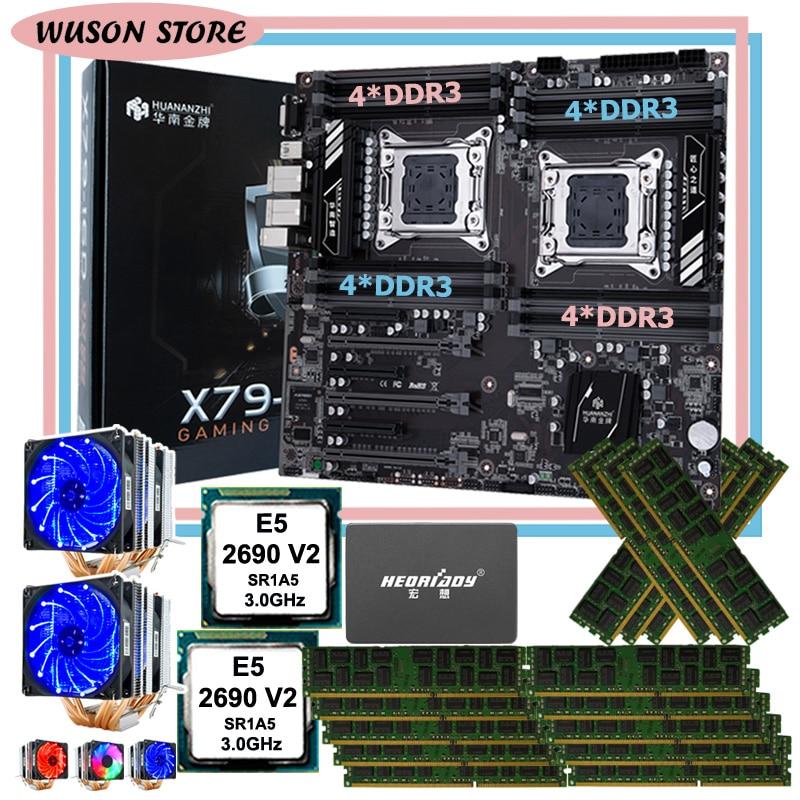 HUANANZHI X79-16D motherboard bundle 960G SATA SSD dual CPU Intel Xeon E5 2690 V2 dual CPU cooler memory 128G(16*8G) 1866 RECC 1