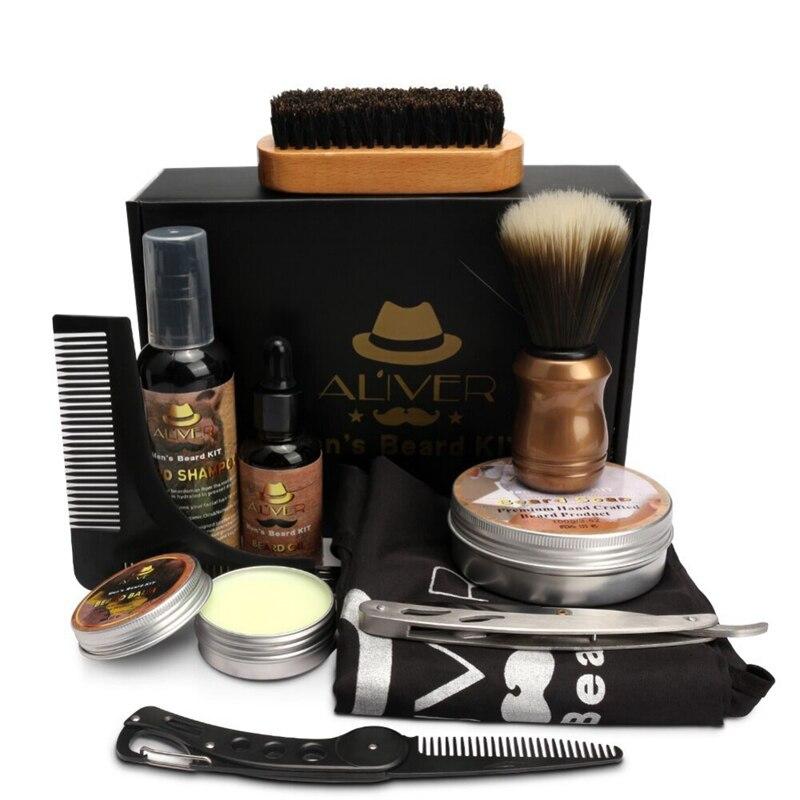 New Mens Beard Oil Kits With Scissor Comb Brush Beard Oil Styling Shaping Mustache Hair Growth Beard Styling Beard Care Set 5