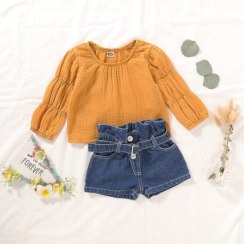 1-4Years Kids Baby Girl Clothes Long Sleeve Tops Jeans Denim Shorts Pants 2Pcs Outfits 1