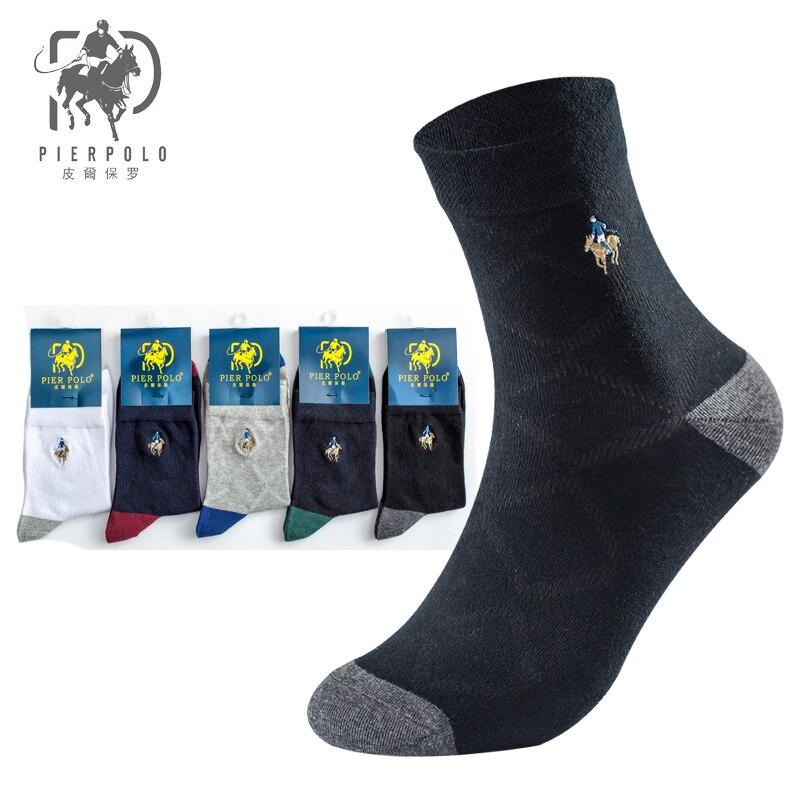 PIER POLO, мужские носки, высокое качество, модные повседневные носки, брендовые, с вышивкой, чёсаный хлопок, дышащие мужские носки, подарок, 5 пар