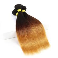 BAISI שיער שיער ברזילאי לא מעובד שיער Weave 1B #4/#27 ombre ישר שיער 3 חבילות 100% שיער טבעי